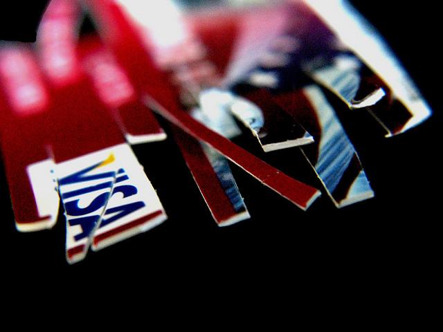 A shredded credit card.