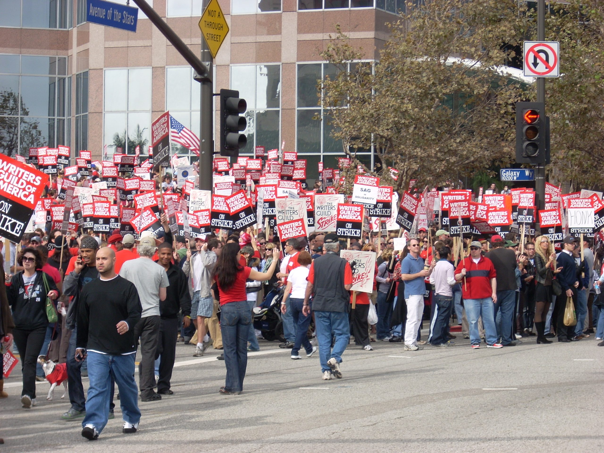 Many members of the Writers Guild of America on strike.